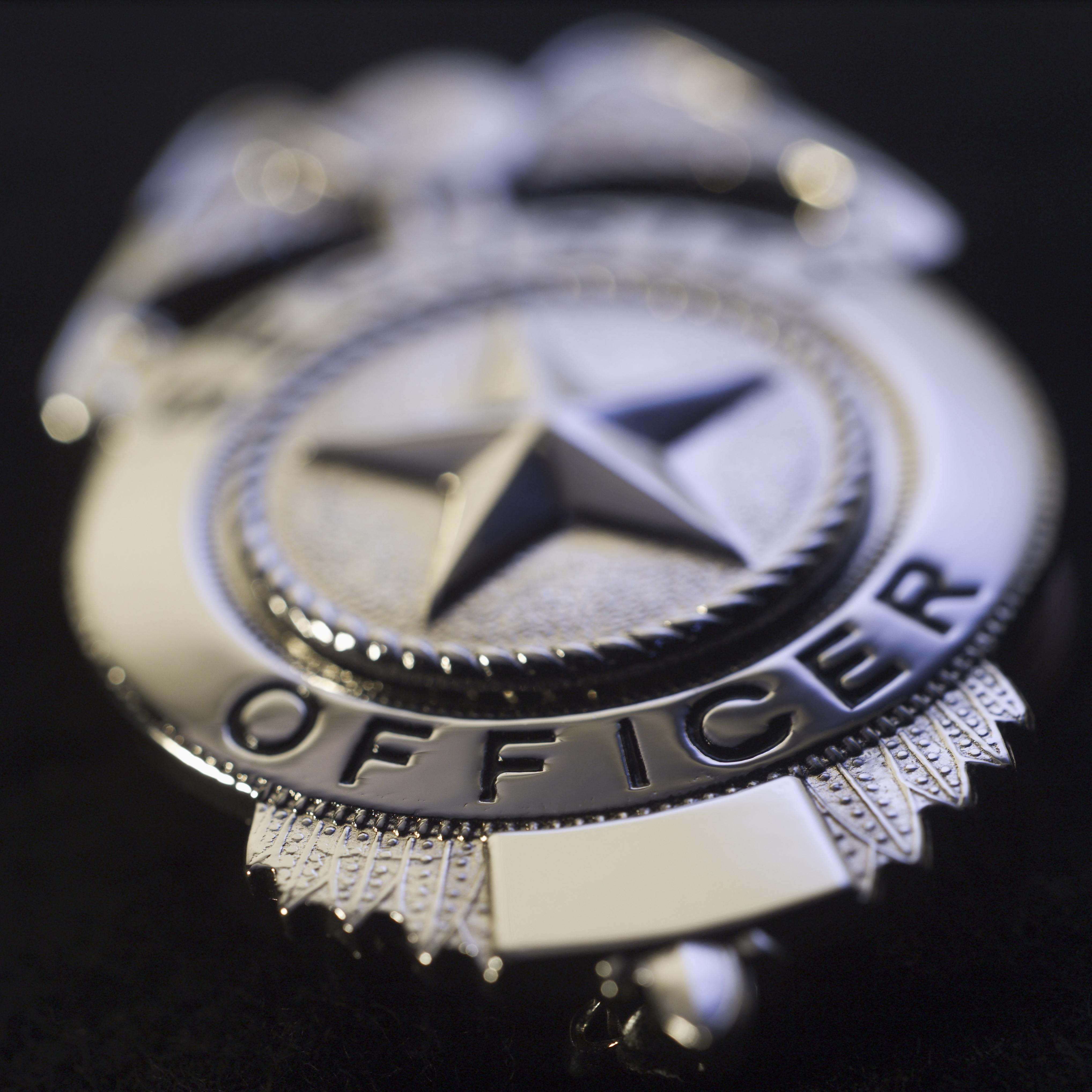 Police badge, close-up
