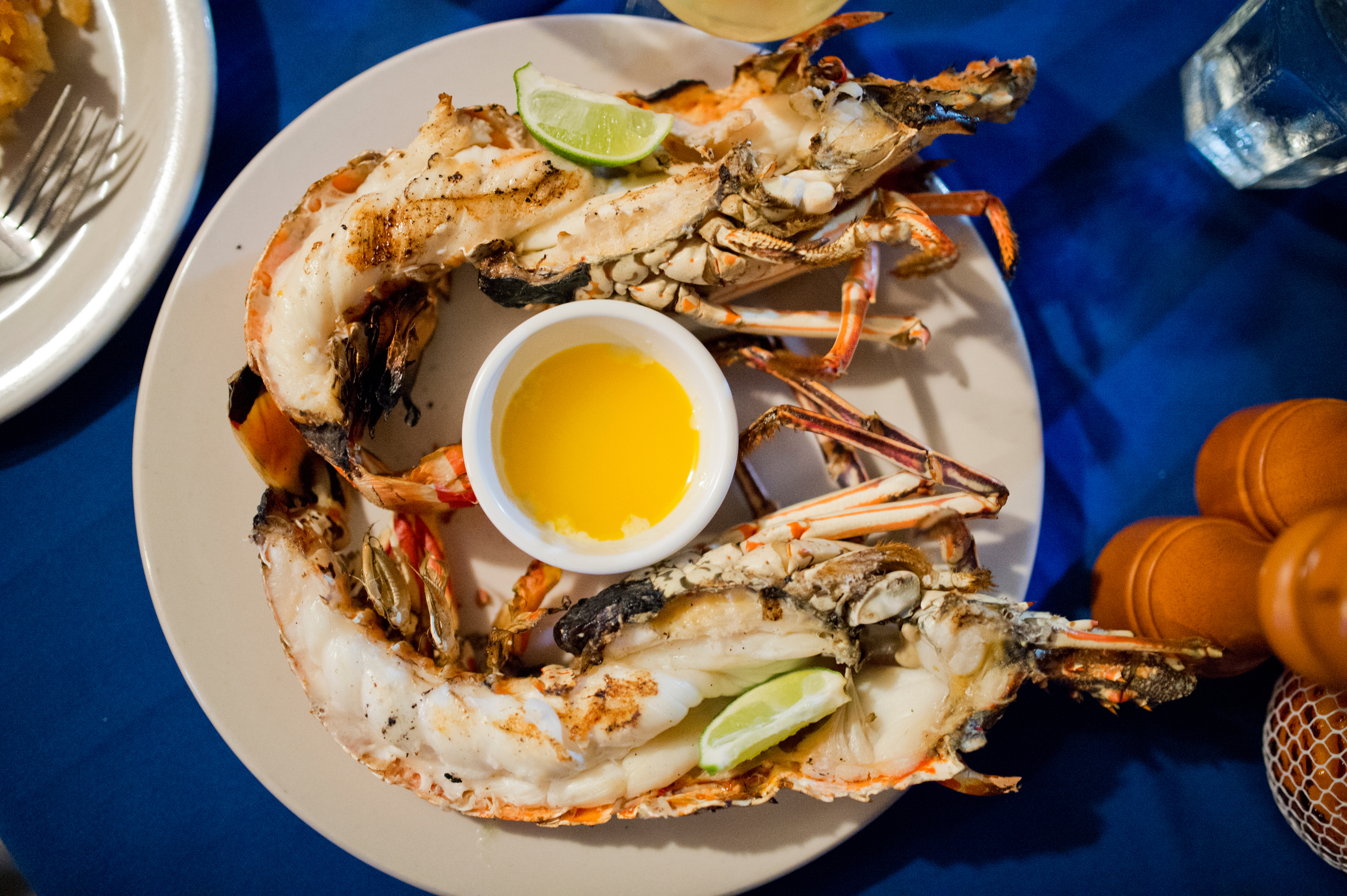 High Angle View Of Crab Served In Plate On Table