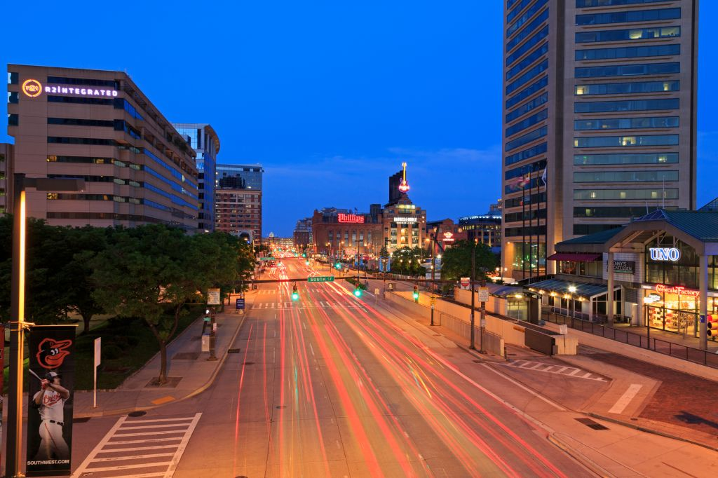 Pratt Street at night, Baltimore, Maryland