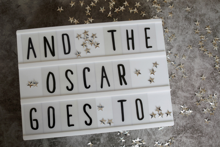 """""""And The Oscar Goes To..."""" message in light box."""