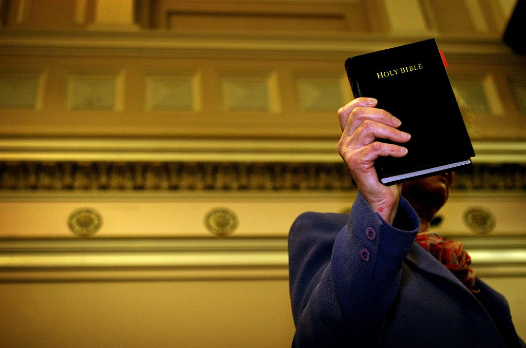 Generic image, court, oath, bible. swearing in, witness stand, 21 May 2005. The