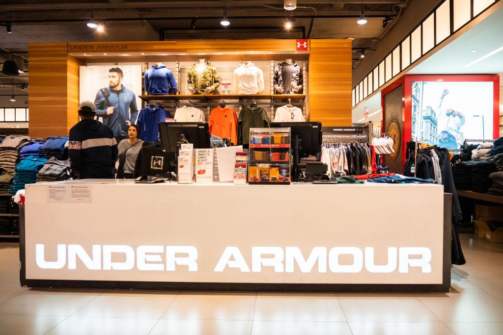 American sportswear manufacturer Under Armour stall seen in...