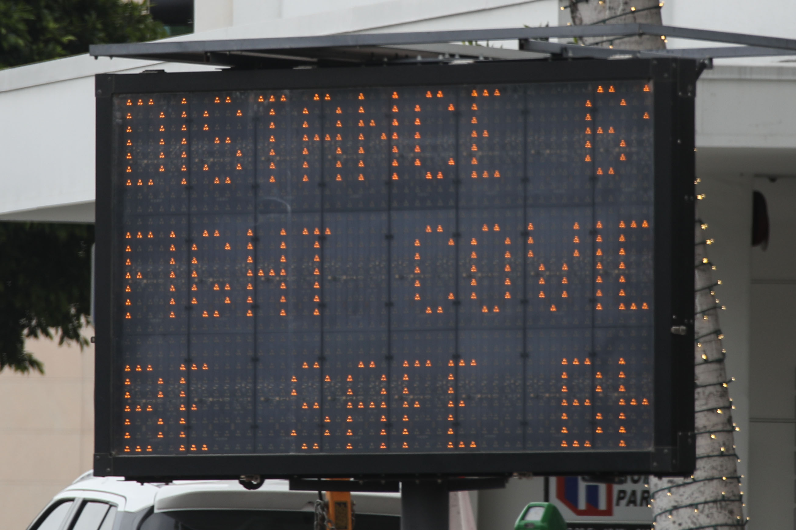 BEVERLY HILLS, LOS ANGELES, CALIFORNIA, USA - MARCH 31: A Caltrans Changeable Message Sign (CMS) war...