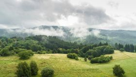 Aerial view of farmland in hilly in Detva region, Slovakia