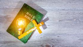 Glow illuminating the Holy Bible