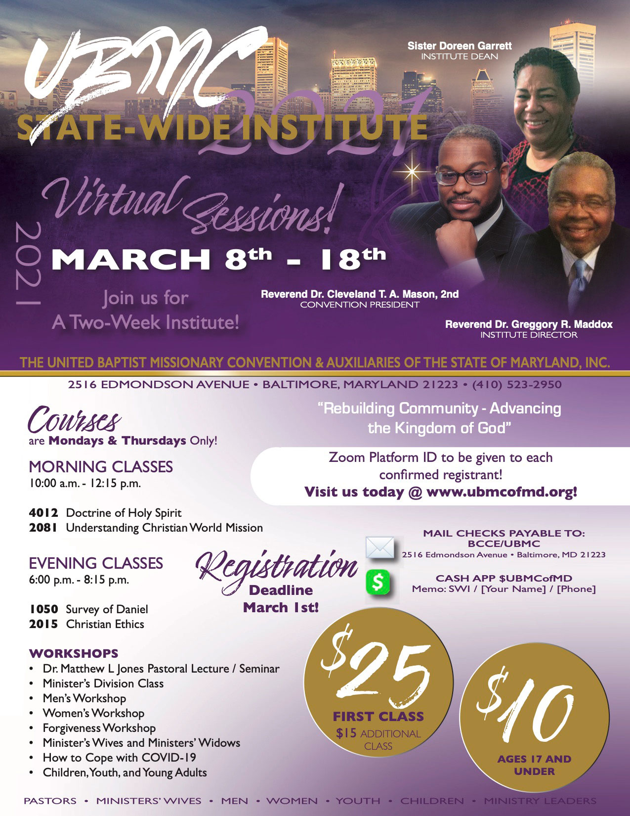 UBMC State-Wide Institute Virtual Sessions Flyer